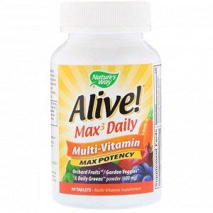 Nature&#x27 - s Way, Живой! Max3 Daily, мультивитамины, 90 таблеток