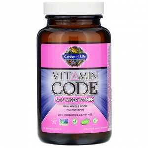 Garden of Life, Vitamin Code, для женщин от 50 и старше, мультивитамины из сырых цельных продуктов, 120 вегетарианских капсул