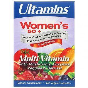 Ultamins, Мультивитаминный комплекс для женщин после 50 с CoQ10, грибами, ферментами, овощами и ягодами, 60 растительных капсул