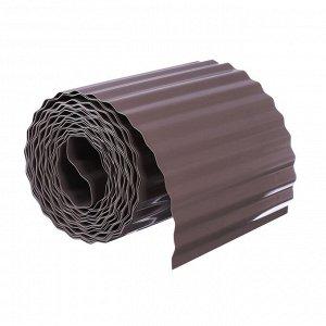 Лента бордюрная, 0.2 ? 9 м, толщина 0.6 мм, пластиковая, гофра, тёмно-коричневая