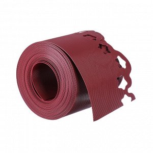 Лента бордюрная, 0.15 ? 9 м, толщина 1.2 мм, пластиковая, фигурная, красная