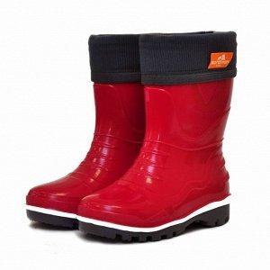 Детские резиновые сапоги с флисовым утеплителем NORDMAN STEP красные