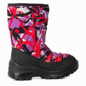 Зимние детские сапоги Nordman Lumi на липучке фиолетово-красные
