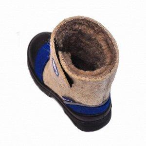 Валенки Nordman на липучке с кожаным носом комбинированные (бежевый, синий)