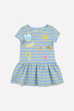 5490 платье/св.желтый, голубой полоска