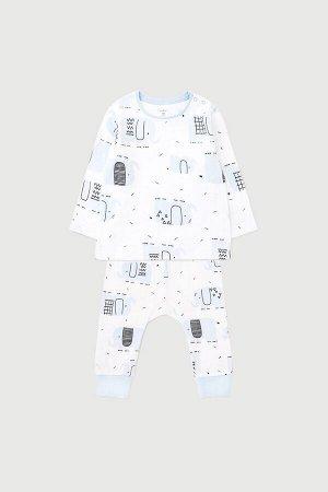 Комплект(Весна-Лето)+baby (графичные слоники на белом)