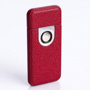 Зажигалка электронная в подарочной коробке, USB, спираль, бордовая матовая, 3х7 см