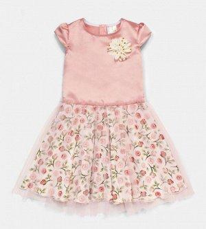 Платье для девочки, сатин+кулирка+фатин