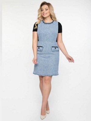 Платье Стильный сарафан А-силуэта из буклированной ткани. - круглый вырез горловины с отделкой из бахромы и тесьмы контрастного цвета - разрезы в боковых швах - верхняя часть сарафана на подкладе -