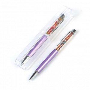 Ручка шариковая, подарочная, поворотная, в пластиковом футляре, «Стразы», сиреневая