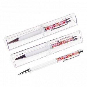 Ручка шариковая, подарочная, поворотная, в пластиковом футляре, «Стразы», белая