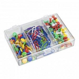 Набор канцелярский из 3-х предметов (скрепки 28 мм цветные - 70 шт, кнопки силовые цветные - 40 шт, кнопки цветные - 70 шт.)