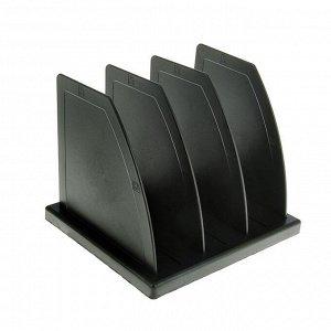 Подставка для журналов и бумаг (сортер) Стамм, сборная, 3 отделения, черная