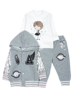 Комплект для девочки: кофточка, штанишки и толстовка. Цвет розовый