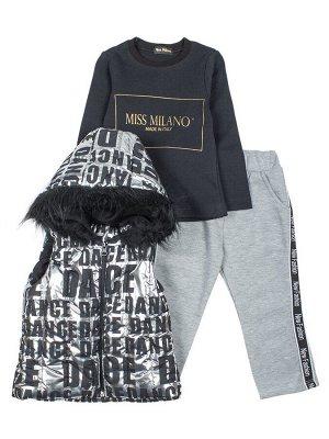 Комплект для девочки:жилет болоньевый,толстовка и штанишки