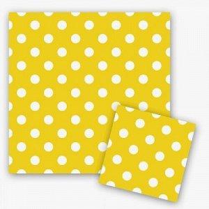 Салфетки горошек желтый 33см x 33см