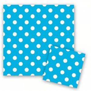 Салфетки горошек голубой 33см x 33см