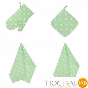 Набор кухонный «Горох зеленый» Прихватка, Варежка, Полотенце - 2 шт