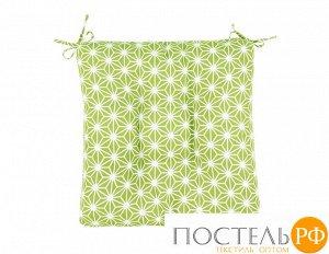 Декоративная подушка (сидушка) толстушка «Абстракция зеленая» рогожка наб. 40х40 см