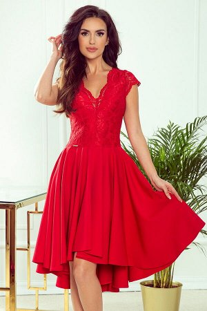 Платье NUMOCO 300-2  Эксклюзивное асимметричное платье-клёш с красивым декольте и кружевом. Рост модели на фото 171 см. Состав: