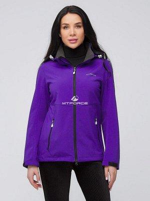 Женская осенняя весенняя ветровка softshell темно-фиолетового цвета