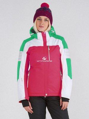 Женская зимняя горнолыжная куртка розового цвета 19601R