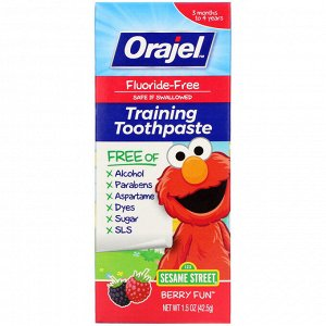 Orajel, Elmo Training Toothpaste, Fluoride-Free, 3 Months to 4 Years, Berry Fun, 1.5 oz (42.5 g)
