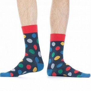 """Носки Хлопковые мужские носки с контрастным дизайном резинки, мыска и пятки. Вся модель декорирована ярким рисунком """"разноцветные кружочки"""".  Состав: Хлопок 87%, Полиамид 11%, Полипропилен 2%"""