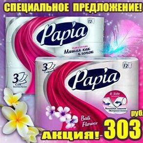 Т/бумага,полотенца PAPIA,Zewa,FAMILIA ,Kleo,PLUSHE,Soffione2 — Туалетная бумага Papia -  АКЦИЯ! — Туалетная бумага и полотенца
