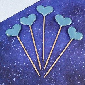 Топпер «Сердце», набор 5 шт., цвет голубой