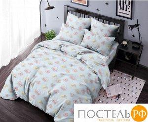 КПБ Ночь Нежна Мишка-романтик 5854-1 голуб. Бязь 120гр. 1.5 сп. 70х70 (1) стандарт