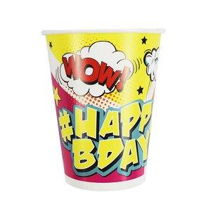Стаканы бумажные Комиксы #HappyBday 200мл 6 шт