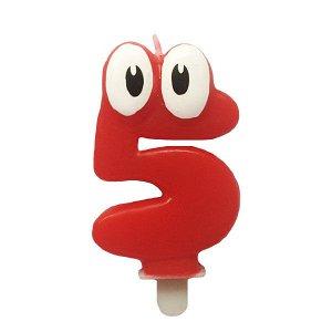 Свеча Цифра 5 Красная С глазками 6,5 см
