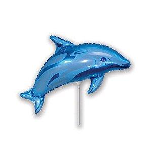 Мини Фигура Дельфин голубой 29 см X 48 см фольгированный шар