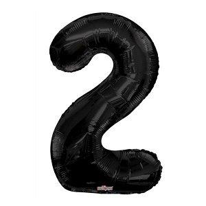 """Фигура Цифра 2 черная 34""""/86 см Уценка шар фольгированный"""