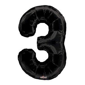 """Фигура Цифра 3 черная 34""""/86 см Уценка шар фольгированный"""