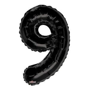 """Фигура Цифра 9 черная 34""""/86 см Уценка шар фольгированный"""