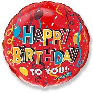 """Круг С днем рождения Серпантин красный 18""""/45 см фольгированный шар с рисунком"""