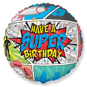 """Круг Супер День Рождения 18""""/45 см фольгированный шар с рисунком"""