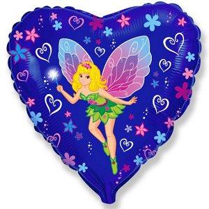 """Сердце Фея-бабочка 18""""/45 см фольгированный шар с рисунком"""
