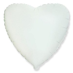 """Сердце WHITE 18""""/45 см фольгированный шар"""