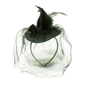 Шляпка с вуалью на ободке черная