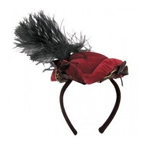 Шляпка треуголка на ободке красная