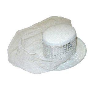 Шляпка с вуалью на ободке белая