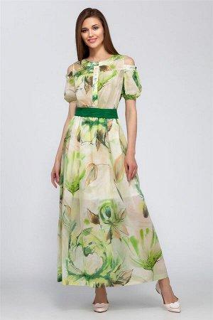 Платье Платье LaKona 955 зеленый  Состав ткани: Вискоза-70%; Хлопок-30%;  Рост: 164 см.  Платье. Летнее платье в пол выполнено из тончайшей хлопковой ткани, на легкой трикотажной подкладке. Впереди к