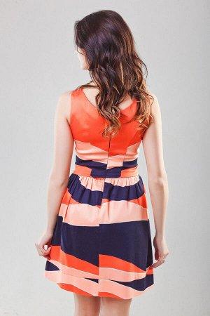 Платье оранжевое с черными полосками