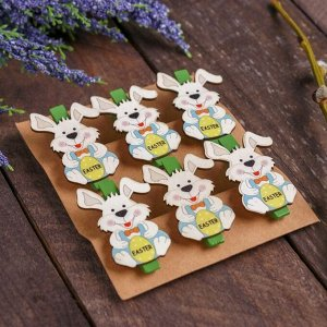 Прищепки декоративные «Пасхальные зайчата» набор 6 шт.