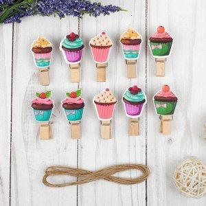 Прищепки декоративные с верёвкой для подвеса «Кейки» набор 10 шт.