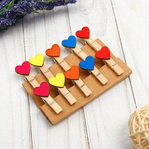 Набор декоративных прищепок «Сердечки» набор 10 шт.