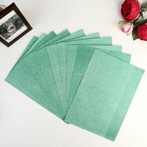 """Бумага на клеевой основе плотность 80 гр """"Блеск зелёный"""" набор 10 листов формат А4"""